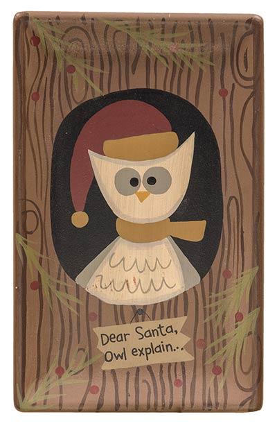 Dear Santa Owl Explain Primitive Tray
