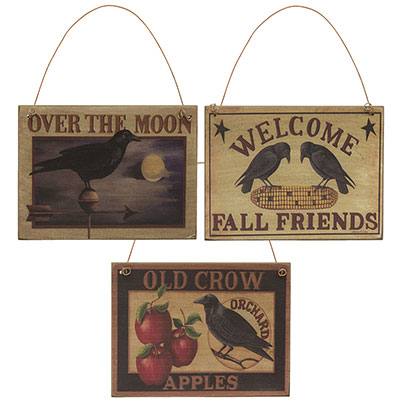 Old Crow Sign Ornaments (Set of 3)