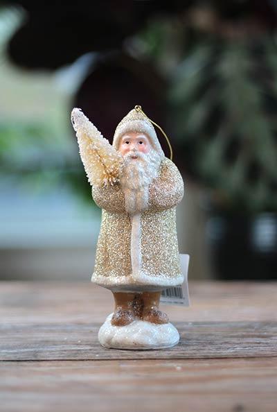 Champagne Santa Ornament with Tree
