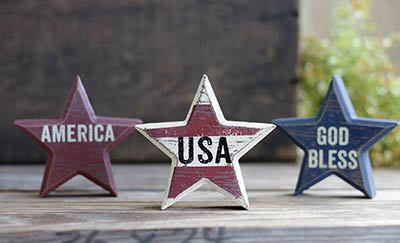 Primitive USA Star Sitters (Set of 3)