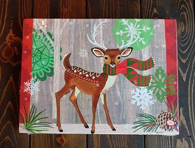 Christmas Deer Light Up Canvas Wall Decor