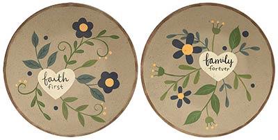 Faith & Family Plates with Hearts (Set of 2)