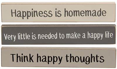 Happiness Mini Shelf Sitter Signs (Set of 3)