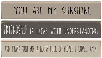 Love & Sunshine Mini Shelf Sitter Signs (Set of 3)