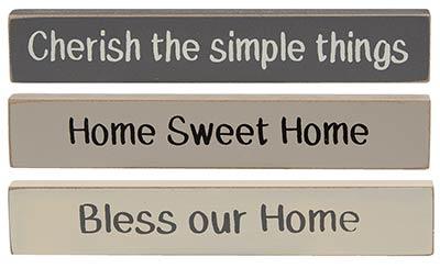 Home Mini Shelf Sitter Signs (Set of 3)