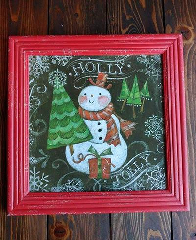 Holly Jolly Snowman Framed Wall Art