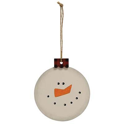 Snowman Ornament with Buffalo Check Cap