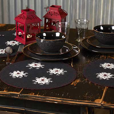 Christmas Snowflake Round Placemats (Set of 6)
