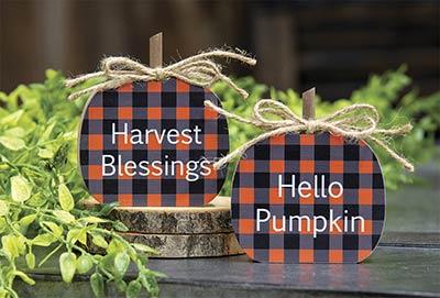 Buffalo Check Pumpkin Shelf Sitters (Set of 2)