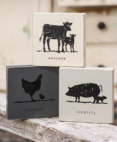 Farm Animal Shelf Sitter Signs (Set of 3)