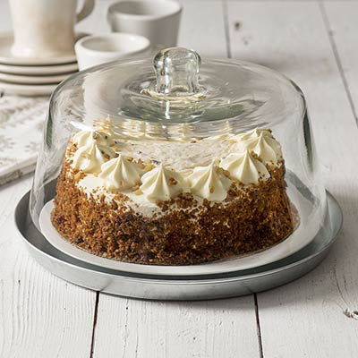 Glass Dessert Cloche With Metal Base - 11.75 inch