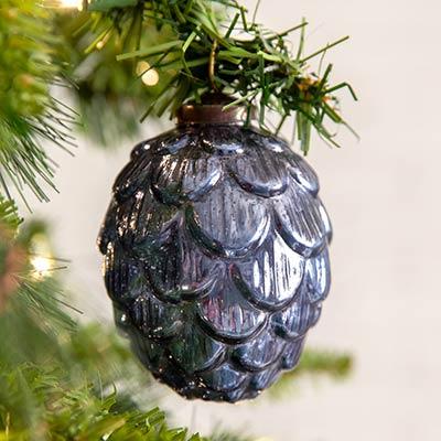 Blue Artichoke Glass Ornaments (Box of 4)