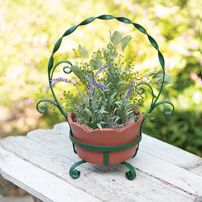 Terra Cotta Pot with Green Twisted Metal Holder