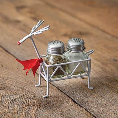 Metal Reindeer Salt and Pepper Caddy