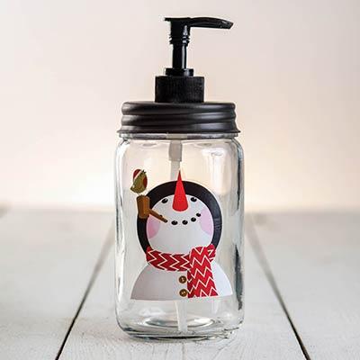 Snowman Glass Soap Dispenser