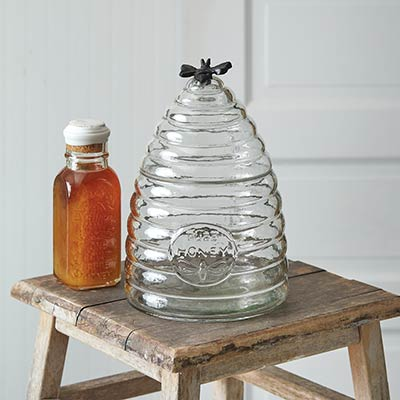 Honey Bee Hive Glass Canister - Large