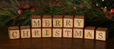 Merry Christmas Letter Blocks
