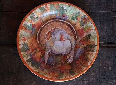 Turkey Wreath Paper Plates - Dinner