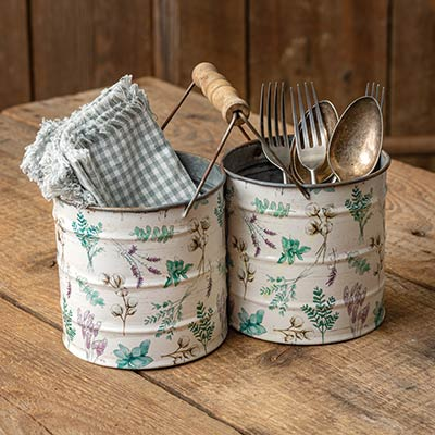 Floral Bucket Caddy with Handle