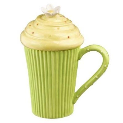 Green Cupcake Mug with Lid