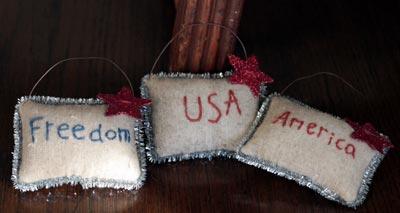 Americana Pillow Ornaments (Set of 3)