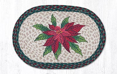 Poinsettia Braided Placemat - Oval