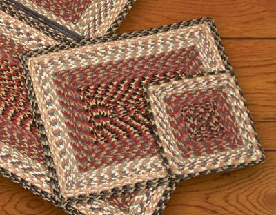 Burgundy, Gray, and Creme Cotton Braid Placemat - Rectangle