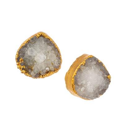 Teardrop Druzy Earrings in Ivory