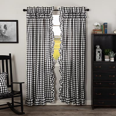 Annie Buffalo Black Check Ruffled 84 inch Panels