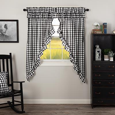Annie Buffalo Black Check Ruffled 63 inch Prairie Curtain