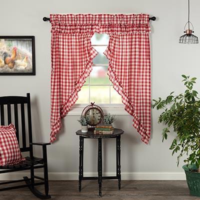 Annie Buffalo Red Check Ruffled 63 inch Prairie Curtain