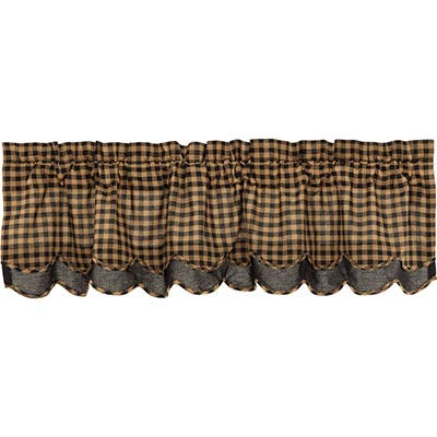 Black Check Scalloped Layered Valance - 60 inch