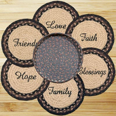 Blessings Braided Jute Trivet Set