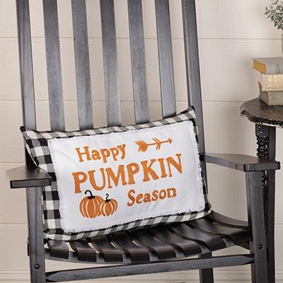 Buffalo Black Check Happy Pumpkin Season Pillow