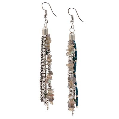 Teal & Natural Stone Drop Earrings