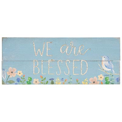 Blessed Wood Sign with Flowers