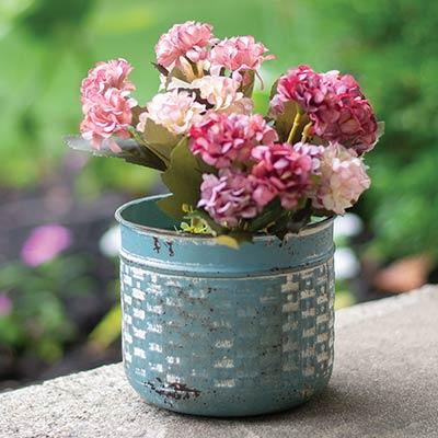 Distressed Blue Basketweave Metal Pot