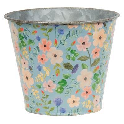 Distressed Blue Floral Metal Bucket