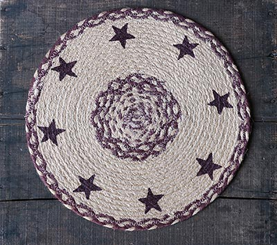 Burgundy and Tan Jute Tablemat with Stars