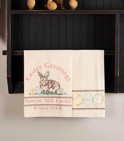 Easter Greetings Bunny Tea Towels (Set of 2)