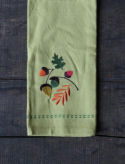 Acorn Embroidered Guest Towel - Split Pea Green