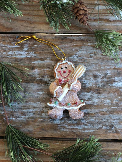 Glittered Gingerbread Ornament with Whisk
