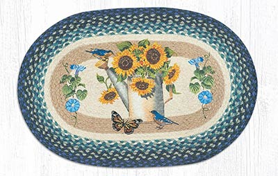 Sunflowers in Watering Can Braided Rug