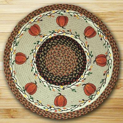 Harvest Pumpkin Braided Jute Rug - Round