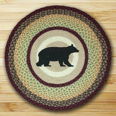 Cabin Bear Braided Jute Rug - Round