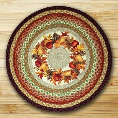Autumn Wreath Braided Jute Rug - Round