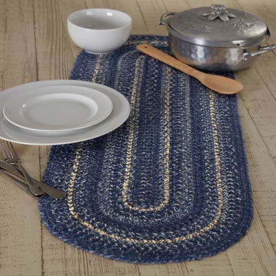 Great Falls Blue Braided 36 inch Table Runner (Oval)