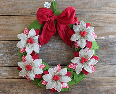 Celebrate the Season Fabric Wreath with Poinsettias