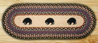 Black Bears Braided Table Runner - 48 inch