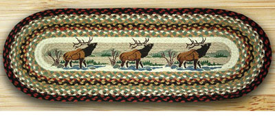 Winter Elk Braided Jute Tablerunner, 36 inch